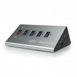 Hub 4 Porte USB 3.0 con Alimentatore 5V 2A - 1 Porta Fast Charge in Alluminio - Nero