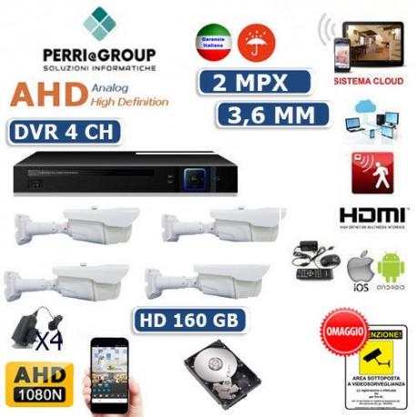 KIT VIDEOSORVEGLIANZA AHD CLOUD DVR 4 CANALI 4 TELECAMERE 2 MPX HD 160 GB
