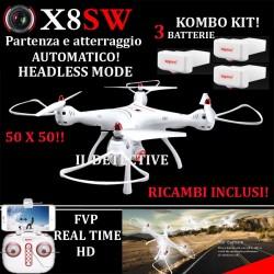 DRONE SYMA X8 SW FPW WIFI BLOCCO ALTEZZA 3 BATTERIE RICAMBI