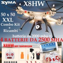 DRONE SYMA X8 HW FPW WIFI BLOCCO ALTEZZA 5 BATTERIE RICAMBI