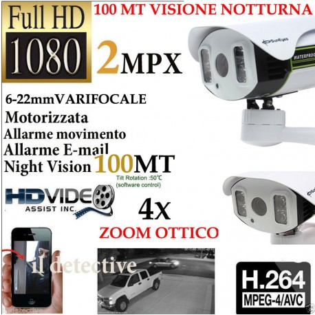TELECAMERA ESTERNA IP CAMERA HD 1080p WIRELESS IR MOTORIZZATA WIFI VARIFOCALE