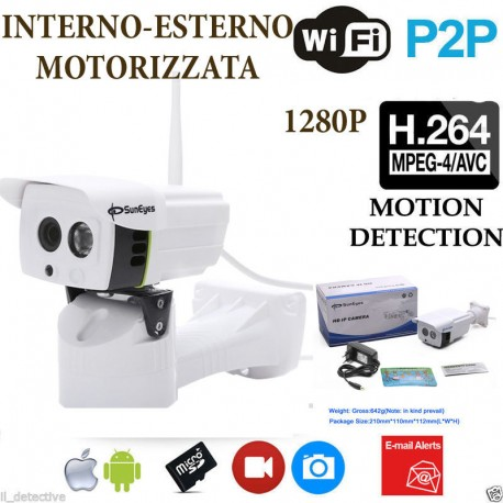 TELECAMERA IP CAMERA HD 720P WIRELESS LED IR MOTORIZZATA WIFI RETE