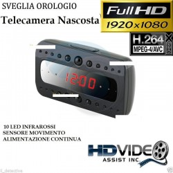 SVEGLIA OROLOGIO SPY SPIA NIGHT VISION TELECAMERA NASCOSTA MICROCAMERA FULL HD