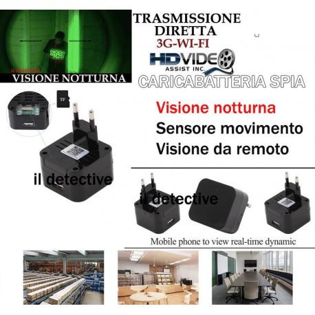 Telecamera spia wifi nascosta 3g alimentatore infrarossi micrococamera micro spy