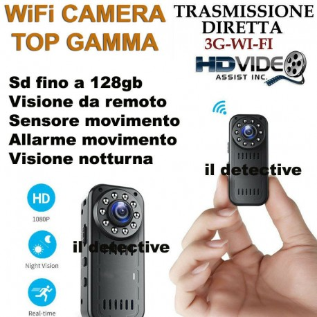 Telecamera spia micro microcamera infrarossi visione notturna WIFI WIRELESS 3G